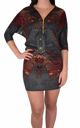 Oversized Pullover Zip-Neck Fall Dolman Top Dress (Paisley Grey and Red)