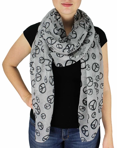 Peace & Love Print Long Shawl (White and Black)