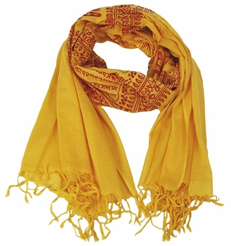 Women's Peace and Love Mantra Printed Fashion Scarf (Yellow Red)