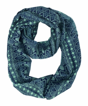 Exclusive Exotic Aztec Tribal Print Infinity Loop Wrap Scarf (Green/Navy)