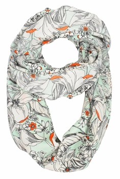 Exclusive Vintage Floral Prints Infinity Loop Scarves Light Scarf (Mint)