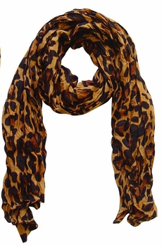 Fashionable Women's Leopard Animal Print Crinkle Scarf Wrap (Brown)