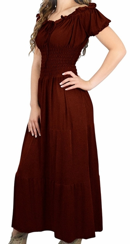 Gypsy Boho Cap Sleeves Smocked Waist Tiered Renaissance Maxi Dress (Chocolate Brown)