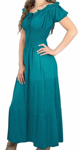 Gypsy Boho Cap Sleeves Smocked Waist Tiered Renaissance Maxi Dress (Teal)