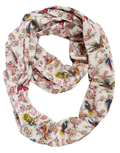 Lovely Multi Pattern Light Bird Floral Print Infinity Loop Scarf (Pink Peacock)