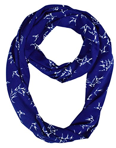 Lovely Multi Pattern Light Bird Floral Print Infinity Loop Scarf (Royal Blue)