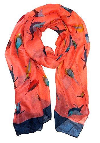 Pretty Vintage Finchbird All-Over Print Light Sheer Scarf (Coral)