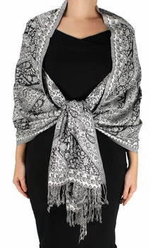Sophisticated Reversible Paisley Floral Shawl (Black and White Diagonal)