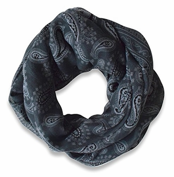 Classic Lightweight Paisley Design Infinity Loop Scarf (Dark Grey)