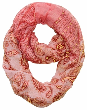 Classic Lightweight Paisley Design Infinity Loop Scarf (Red)