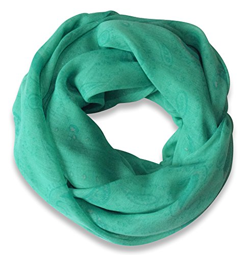 Classic Lightweight Paisley Design Infinity Loop Scarf (Teal)