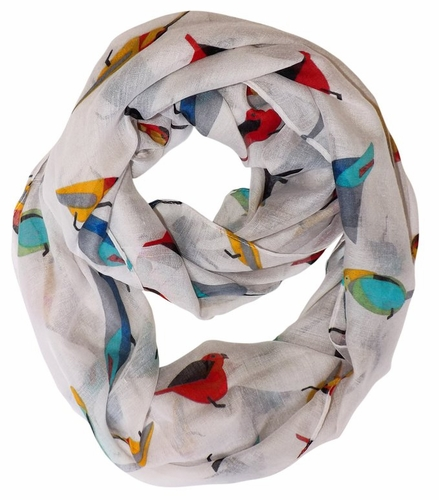 Vintage Finch Bird All-Over Print Light Sheer Infinity Loop Scarf (White)