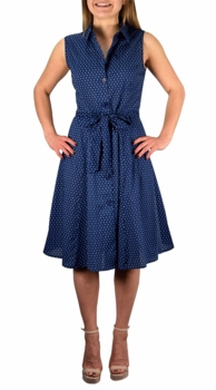 Vintage Inspired Pattern A-Line Shift Dress with Fabric Belt Tie (Nautical Navy)