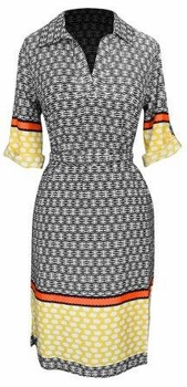 Multi Pattern V Neck Shift � Sleeve Waist Tie Shift Dress (Yellow & Orange)