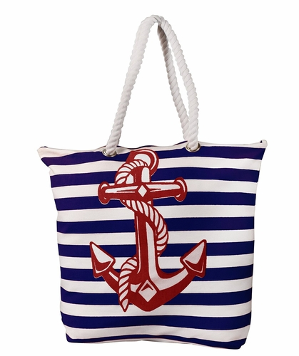 Premium Cotton Canvas Beach Handbags Nautical Small Anchor Design