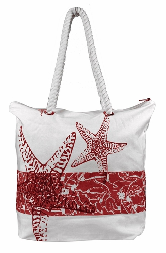 Premium Cotton Canvas Beach Handbags Nautical Starfish Design
