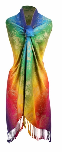 Rainbow Silky Tropical Hibiscus Floral Pashmina Wrap Shawl Scarf (Faded Rainbow)