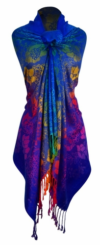 Rainbow Silky Tropical Hibiscus Floral Pashmina Wrap Shawl Scarf (Royal Blue)