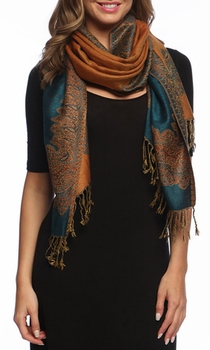 Ravishing Reversible Pashmina Shawl with Braided Fringe (Dark Blue/Gold)    **BACK ORDER**