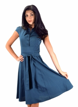 Retro Style 100% Cotton Button Up Tea Party Swing Vintage Dress Fabric Belt (Blue)