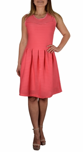 Ribbed Sleeveless Knee Length Skater Dress (More Colors)