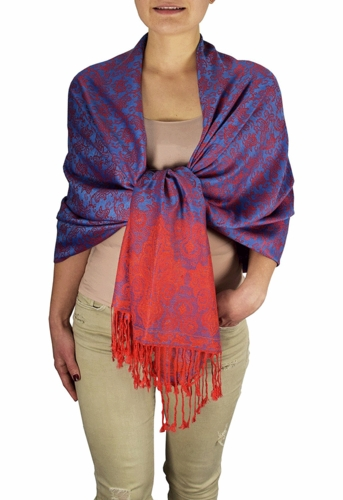 Royal Pashminas with Intricate Vine Paisley Design (Blue and Red)