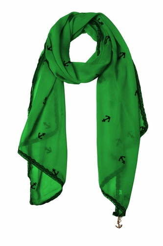 Sheer Vintage Anchor Embossed Scarf with Anchor Charm & Lace Border (Green)