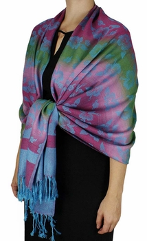 Silky Tropical Hawaiian Pansy Shawl Scarf Teal