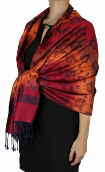 Silky Tropical Hawaiian Pansy Shawl Scarf Wine