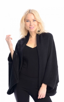 Solid Extra Soft Versatile Knit Sleeve Wrap Around Shawl Scarf (Black)
