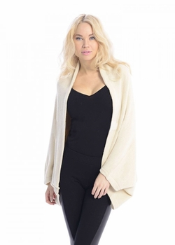 Solid Extra Soft Versatile Knit Sleeve Wrap Around Shawl Scarf (Cream)