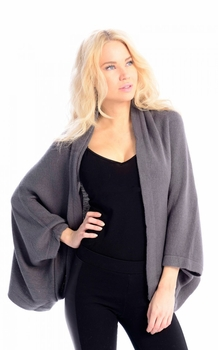 Solid Extra Soft Versatile Knit Sleeve Wrap Around Shawl Scarf (Grey)