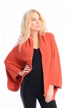 Solid Extra Soft Versatile Knit Sleeve Wrap Around Shawl Scarf (Orange)