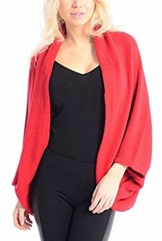 Solid Extra Soft Versatile Knit Sleeve Wrap Around Shawl Scarf (Red)