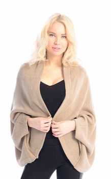 Solid Extra Soft Versatile Knit Sleeve Wrap Around Shawl Scarf (Taupe)