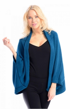 Solid Extra Soft Versatile Knit Sleeve Wrap Around Shawl Scarf (Teal)