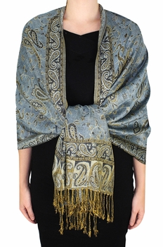 Sophisticated Reversible Paisley Floral Shawl (Cornflower)
