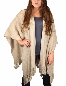 Stunning Sparkling Poncho Wrap Scarf with Fringes - Beige
