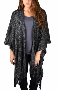 Stunning Sparkling Poncho Wrap Scarf with Fringes - Black