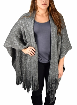 Stunning Sparkling Poncho Wrap Scarf with Fringes - Grey