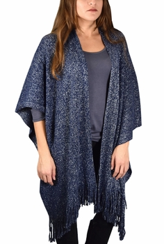 Stunning Sparkling Poncho Wrap Scarf with Fringes - Navy