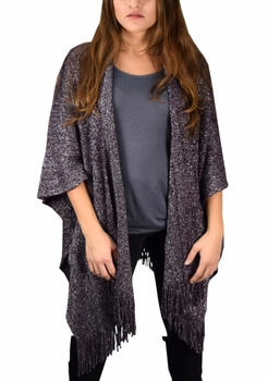Stunning Sparkling Poncho Wrap Scarf with Fringes - Purple
