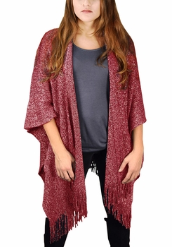 Stunning Sparkling Poncho Wrap Scarf with Fringes - Red