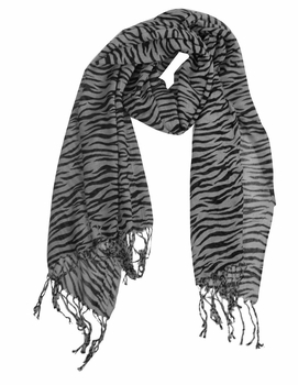 Stylish Striped Zebra Print Scarf (Grey)