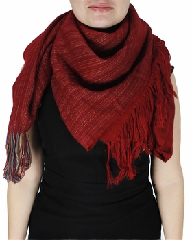 Super Large Warm Woven Blanket Scarf Shawl Poncho (Red)