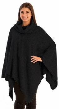 Thick and Soft Warm Foldover Turtleneck Shawl Wrap Sweater Poncho (Black)