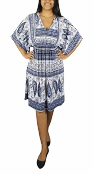 Traditional Vintage Blue & White Mid Length Kaftan Dress