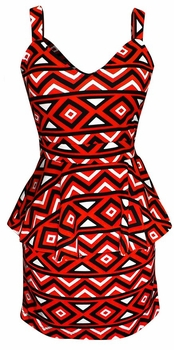 Trendy Heart Neck Geometric Print Peplum Pencil Dress (Red and Black, Medium)