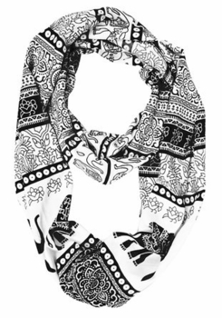 Trendy Lightweight Animal Print Artsy Elephant Wrap Scarf Shawl (Black Tribal)