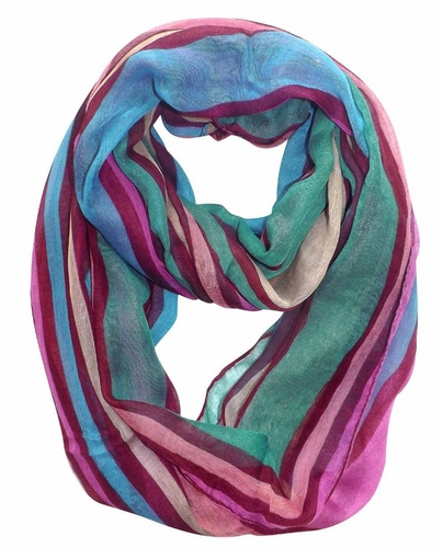 Trendy Striped Print Light and Soft Fashion Infinity Loop Scarf (Maroon)